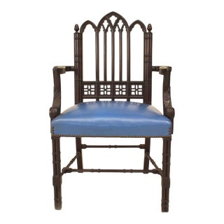 Chinese Chippendale Mahogany Arm Chair For Sale