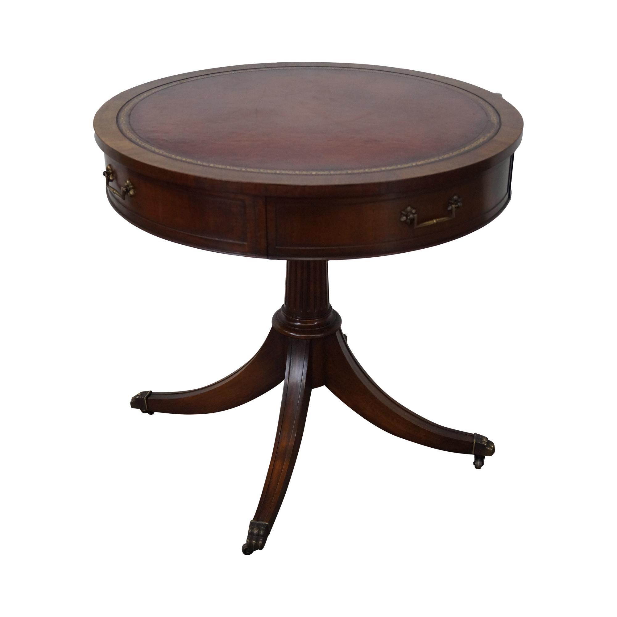 Prime Weiman 1940S Mahogany Round Leather Top Drum Table Inzonedesignstudio Interior Chair Design Inzonedesignstudiocom