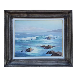 Robert Hutchinson Seascape Waves Rock Painting For Sale