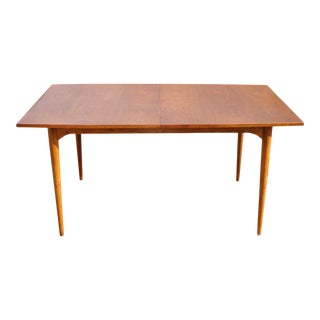 20th Century Danish Modern Brown Saltman Teak Dining Room Table With 2 Leaves For Sale