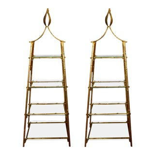 Gilded Bamboo Metal Pyramid Bookcases - A Pair