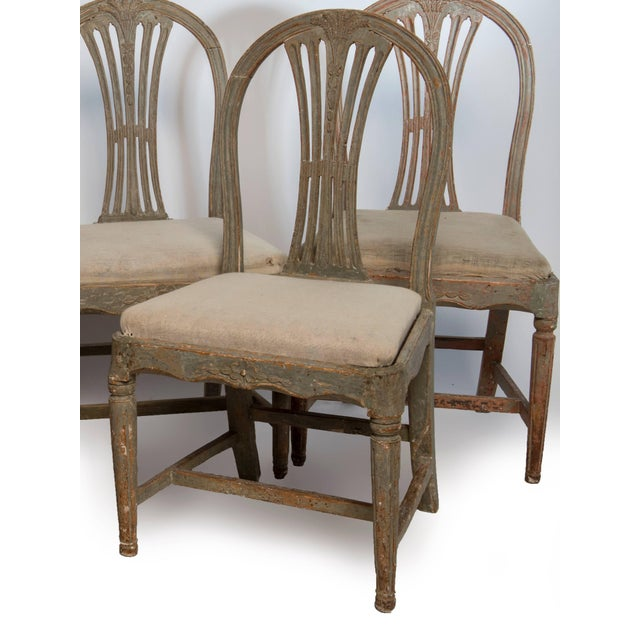 A very nice set of six hand-painted Gustavian dining chairs, they have wear which is consistent with age.