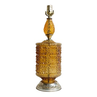 Amber Pressed Glass Table Lamp For Sale