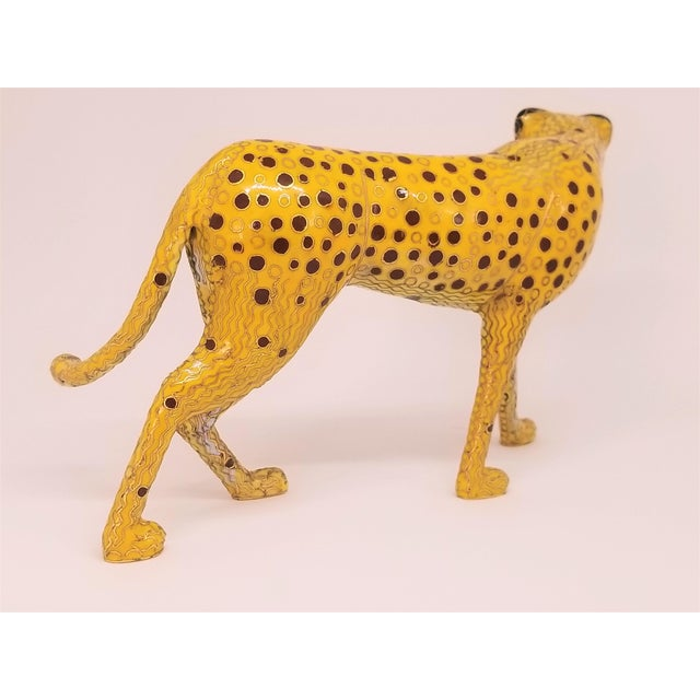 Cheetah - Vintage Cloisonne Enamel and Brass Sculpture - Mid Century Modern Palm Beach Boho Chic Animal Tropical Coastal For Sale - Image 10 of 12