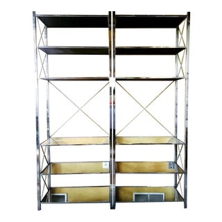 Milo Baughman Chrome With Mirrored Shelves For Sale