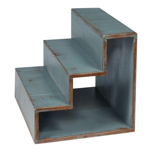 Sarreid Ltd Pale Blue Step Side Table - Image 1 of 5