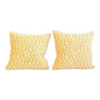 "Custom Studio Bon for Schumacher ""Knit"" Print Sun Colorway Pillows - a Pair For Sale"