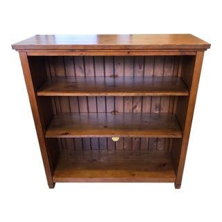 Pottery Barn Rustic Chestnut Beadboard 3-Shelf Bookcase For Sale