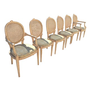 Vintage Mid Century Hollywood Regency Style Tree Trunk Form Cain Backs- Set of 6 For Sale