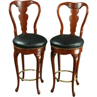 Pair Queen Anne New Bar Stools Mahogany/Faux For Sale