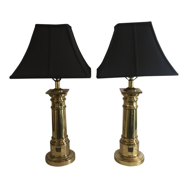Ethan Allen Brass Column Table Lamps - A Pair - Image 1 of 8
