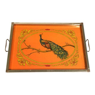 1960s Art Nouveau Silver Peacock Serving Tray