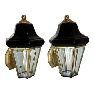 Vintage Black Enamel & Brass Beveled Panel Glass Wall Sconce Outdoor Porch Lights - a Pair For Sale