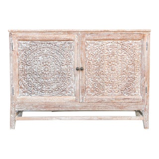 Whitewashed Reclaimed Lotus Carved Cabinet For Sale