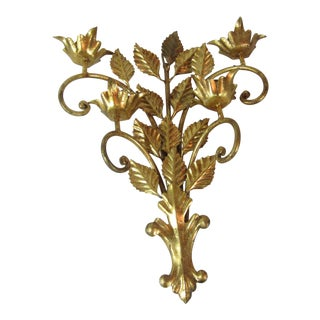 Italian Gold Leaf Sconce For Sale