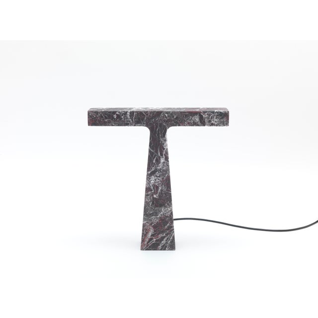 MMairo Red Levanto Marble Lamp by Niko Koronis, Made in Italy For Sale - Image 4 of 10