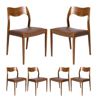 Set of Six Teak Niels Møller Model No. 71 Dining Chairs For Sale