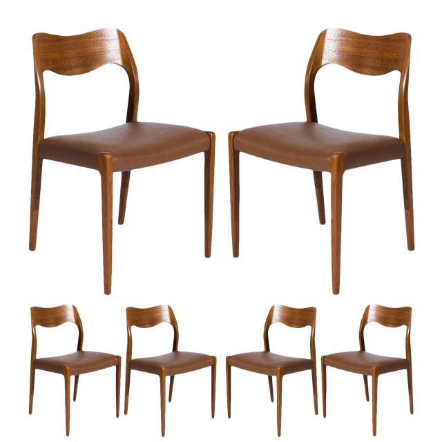 fine set of six teak niels møller model no 71 dining chairs decaso