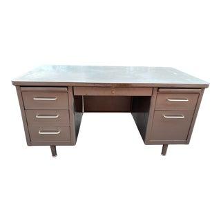 Vintage Steelcase Metal Tanker/Executive Desk For Sale