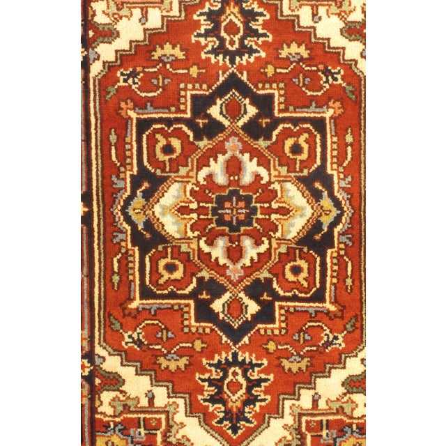 Indian Serapi design rug. Hand-knotted in fine lambswool. Originates from India. This rug has a dense, soft pile, and...