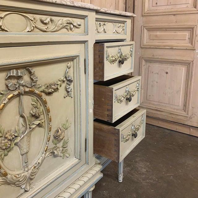 Antique Italian Louis XVI Painted Dresser ~ Linen Press For Sale - Image 9 of 13