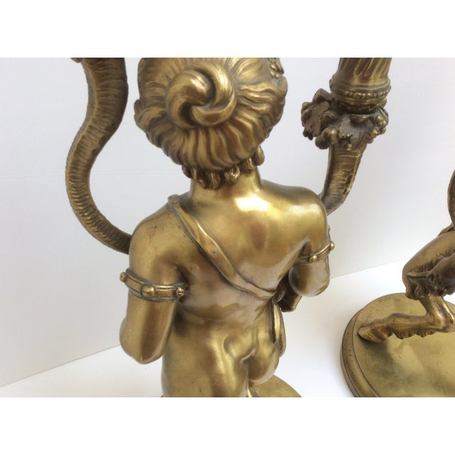 Bronze Figure Candle Holders - A Pair For Sale - Image 11 of 11
