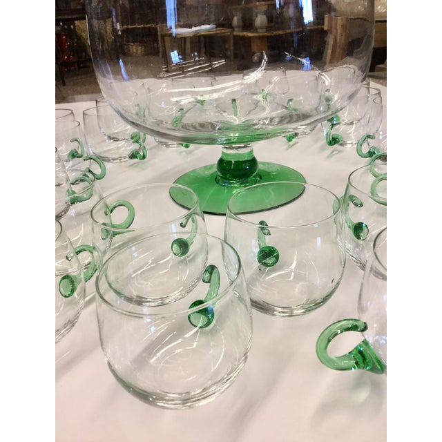 Green Mid Century Modern Hand Blown Glass Punch Set - 25 Pieces For Sale - Image 8 of 13