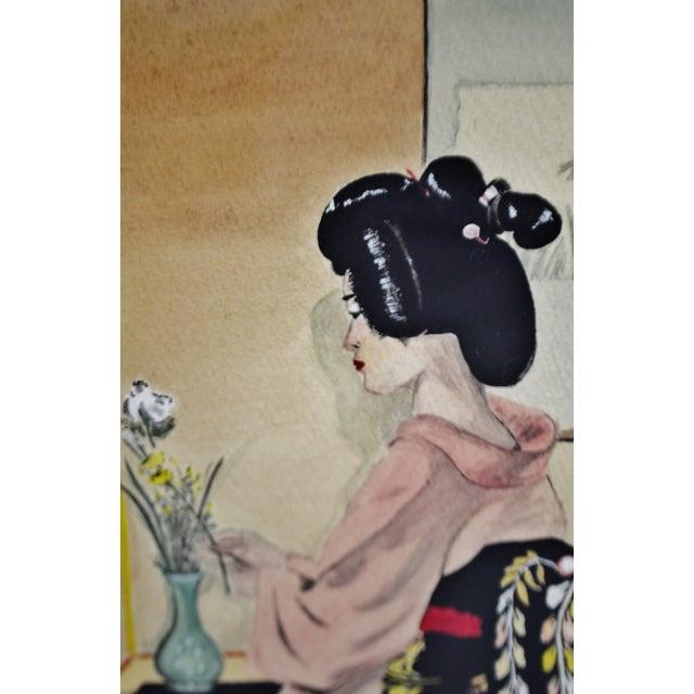 Vintage Framed Ink & Watercolor Japanese Geisha Painting - Artist Signed For Sale In Philadelphia - Image 6 of 13