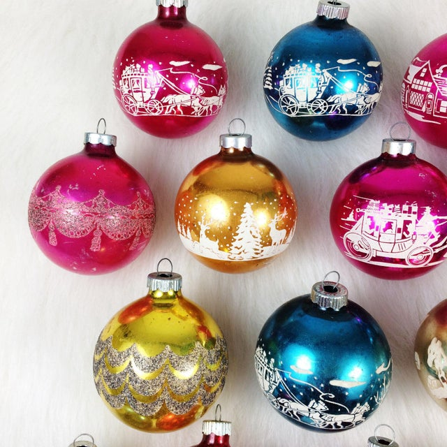 vintage shiny brite stencil christmas ornaments set of 19 image 2 of 7 - Vintage Shiny Brite Christmas Ornaments