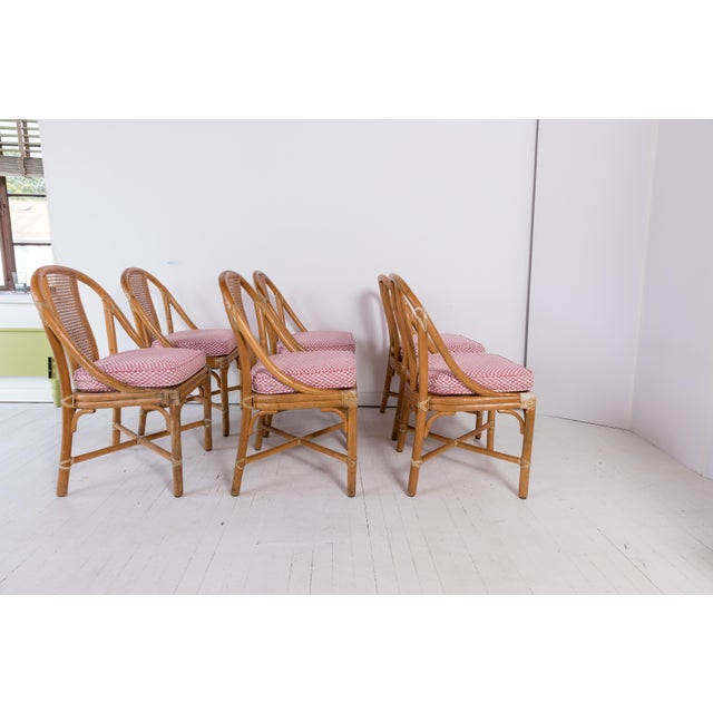 McGuire 1960s Vintage McGuire Furniture Rattan Dining Chairs- Set of 6 For Sale - Image 4 of 13