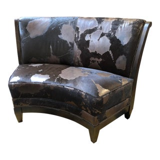 Custom Hide & Mohair Banquette Seat For Sale