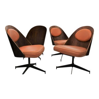 Mid Century Modern Bent Plywood and Vinyl Dining Chairs For Sale