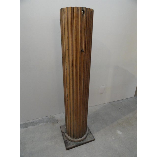 Oak wood fluted column floor lamp chairish oak wood fluted column floor lamp image 3 of 10 aloadofball Image collections