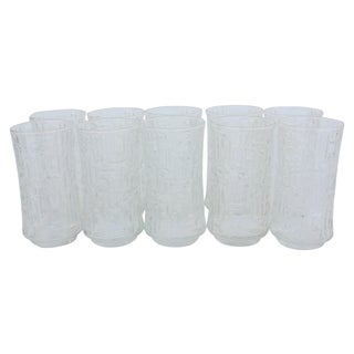 Artica Abstract Geometric Textured Glass Tumblers - Set of 10 For Sale