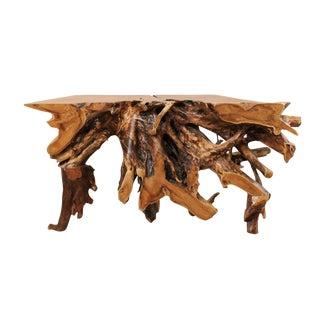 Tropical Teak Root Hardwood Console Table For Sale