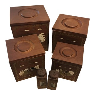 Mid-Century Decorative Roosters Wood Canisters - 12 Piece Set For Sale