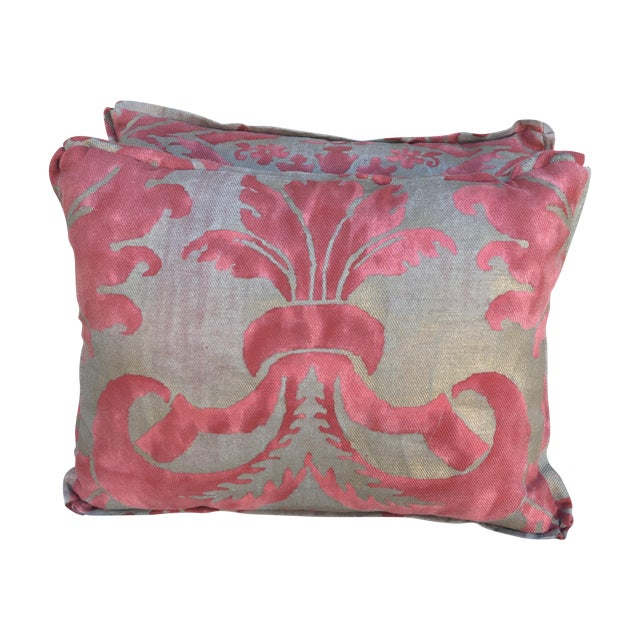 Fortuny Pink & Gold Pillows - A Pair - Image 1 of 5