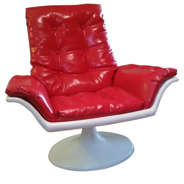 Mid Century Mod Space Age Tulip Base Swivel Chair For Sale