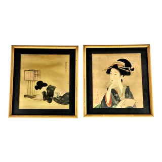 Early 20th Century Signed Geisha or Kabuki Actor Prints - a Pair For Sale