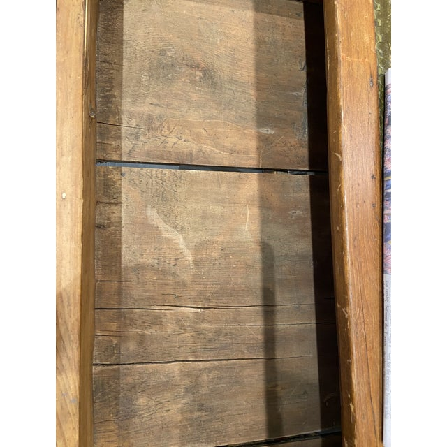 Wood Antique Pine Writing Desk With Leather Top For Sale - Image 7 of 9
