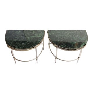 1930's Vintage Jansen Style Demilune Tables- A Pair For Sale