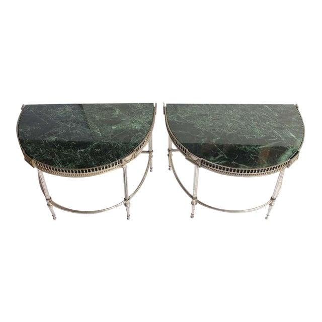 1930's Vintage Jansen Style Demilune Tables- A Pair For Sale