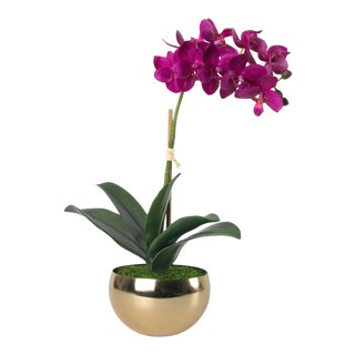 Diane James for Chairish Faux Purple Orchid in Gold Bowl For Sale
