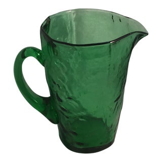 1990s Americana Anchor Hocking Emerald Green Pitcher For Sale