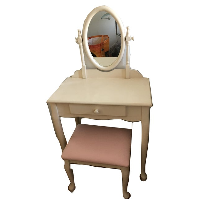 Cottage White Vanity With Mirror and Pink Stool Set For Sale - Image 3 of 10
