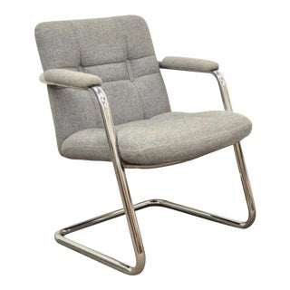 Vintage Chromcraft Mid Century Modern Tubular Chrome Cantilever Lounge Arm Chair