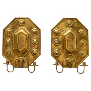 Hand-Crafted Brass Wall Sconces Shields - a Pair For Sale