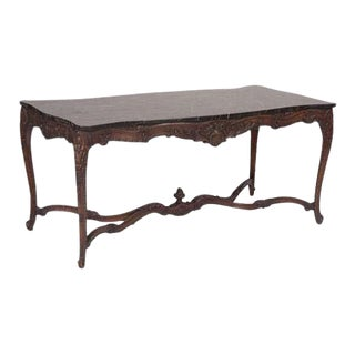 Marble Top Walnut Carved Center Table For Sale