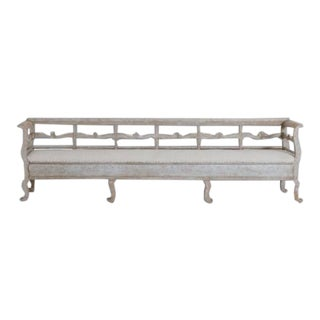 19th Century Karl Johan Period Original Paint Long Sofa Bench For Sale