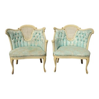 Pair Vintage French Provincial Louis XVI Blue Tufted Accent Chairs For Sale